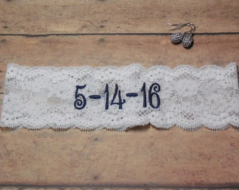 Embroidered Garter, Personalized Garter, Royal Blue Garter, Blue Garter, Something Blue, Custom Garter, Monogrammed Garter, Save the date