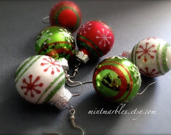 Glitter Christmas Ball Dangle Earrings. You Choose. Red. Green. Round. Christmas. Gift. Holiday. Festive. Under 10 Dollar Jewelry. Sale.