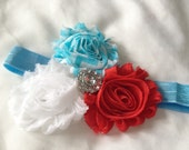 Red, white and aqua blue flower headband
