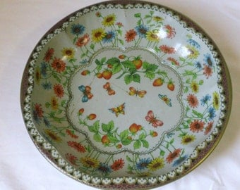 Vintage Daher Decorated Ware Tin Serving Bowl Butterflies Strawberries Flowers