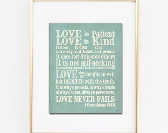 1 Corinthians 13 Subway Art. Love is Patient, Love is Kind...