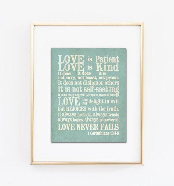 1 Corinthians 13 Subway Art. Love is Patient, Love is Kind...