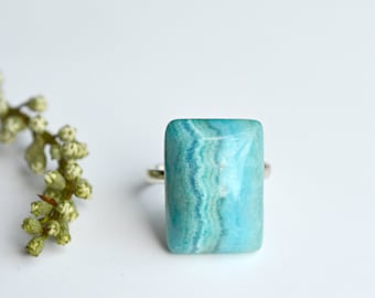 Turquoise Agate Ring, Rectangle Stone Ring, Stone Jewelry - T129
