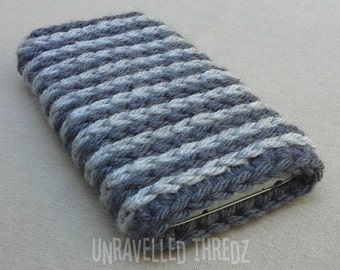 Crochet Phone Pouch, Phone Sock Cozy, Gray Striped, Iphone, HTC, Samsung Galaxy