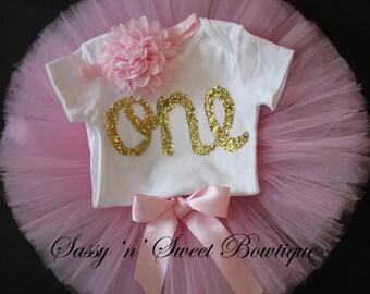 Gold glitter ONE 1st Birthday pink deluxe tutu onesie headband skirt Cake Smash photo props shoot