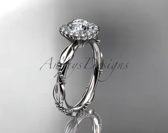 14kt white gold diamond leaf and vine wedding ring, engagement ring ADLR337