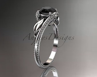 Unique 14kt  white gold  engagement ring with black diamond center stone ADLR322