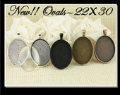 10 - 22mm X 30mm OVAL Alloy Pendant Trays and Optional Oval Glass Domes (10),  Pick your Options Vintage Necklaces (10), Seals (10 or 20)