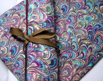 Quilted Pink Purple Paisley Crochet Roll, Double Pointed Needle Roll Organizer Holder