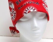 Ladies Surgical Scrub Hat - Chemo Cap - Pixie - Boston Red Sox