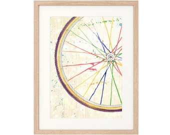 Watercolour Rainbow Bicycle Wheel -  Extra Large Art Print - Archival inks & paper