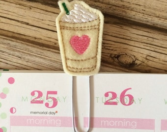 Coffee Planner Clip, Coffee Bookmark, Coffee Cup Page Clip, Coffee Paper Clip, Coffee Planner Accessories - Pink