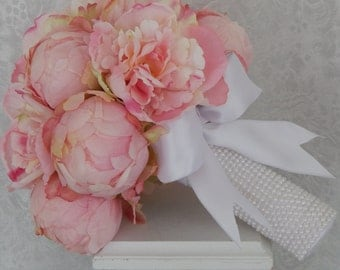Blush Pink Peony  Bouquet with Pearl Handle- Peony Wedding Bouquet
