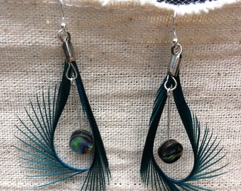Turquoise Goose Feather Earrings