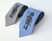 ROBOT TIE - Handmade Grey or Blue Android Tie