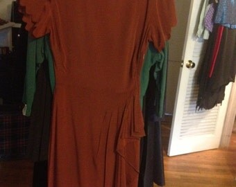 SALE -- sexy 40s-50s cocoa torch singer dress with faux sarong hip drape - small