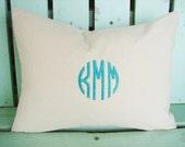 Monogram pillow cover-12x16 lumbar cotton twill-initial- housewarming gift-decorative pillow cover-dorm room-throw pillow-accent pillow