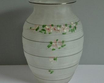 Glass Vase Handpainted Flower Vase Pink Flower Vase Art Nouveau Glass Flower Vase Shabby Chic Flower Vase Translucent Flower Vase