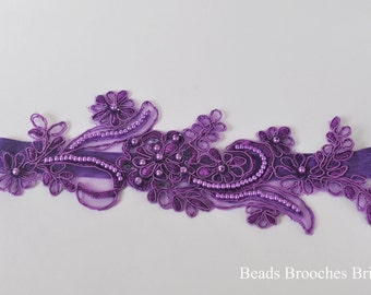 Purple Lace Flower Wedding Garter,Pearl-Sequin Purple Lace Wedding Garter,Purple Embroidered Lace Garter,Bridal Lace Garter in Purple