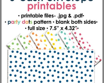 Printable Blank Cash Envelope FULL Size Single Color- PARTY DOTS, Money Budget Envelopes, Cash Organizer - Set of 6, PB1527