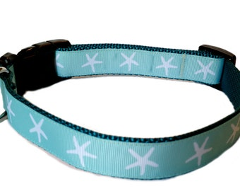 "1"" Wide Dog Collar - Medium or Large - Aqua Blue with White Starfish on Teal Webbing"