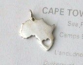 Africa pendant, sterling silver pendant, sterling silver africa, 1pc, .925 silver pendant