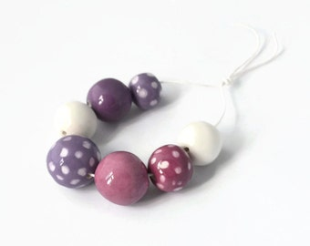 Lavender, mauve, white and ceramic beads, African beads, handmade African beads, ceramic beads, 7 handmade beads