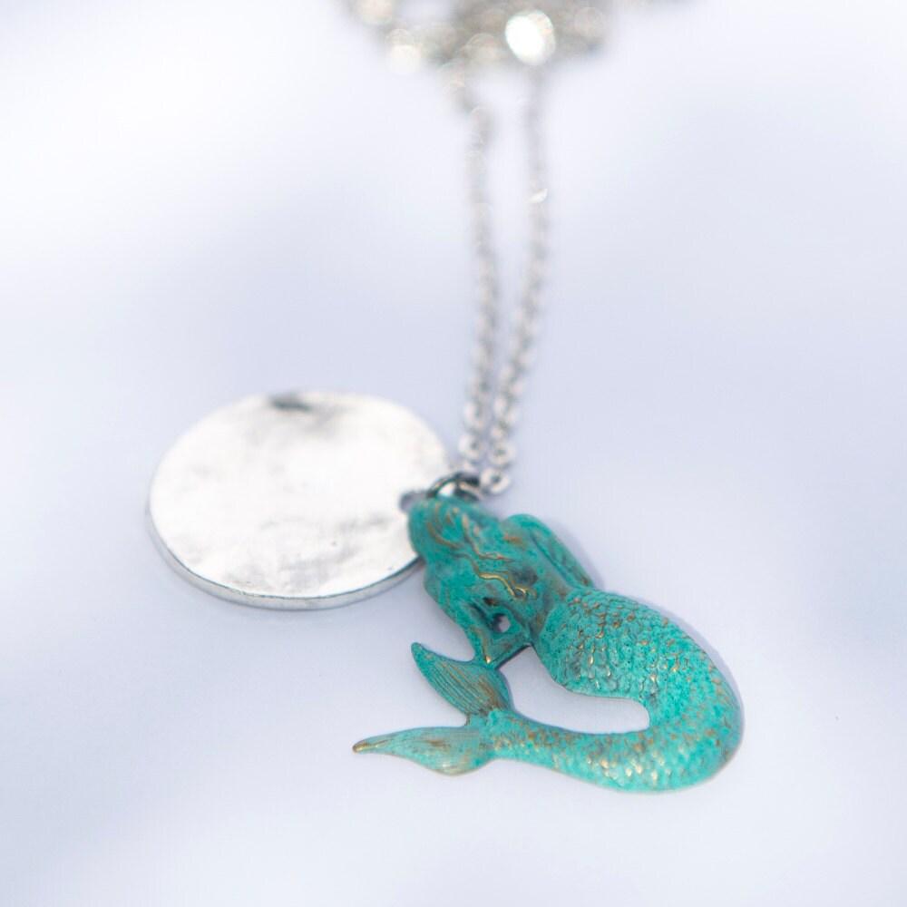 Blue Mermaid Jewelry Handmade Silver Pendant Tourquoise