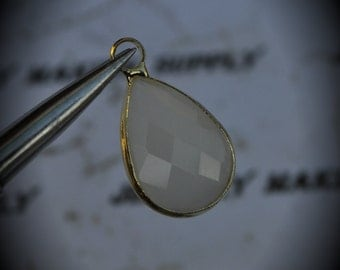 Gold Plated Bezel Brass Faceted Glass Tear Drop Pendant - White Opal