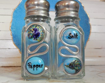 Hand Painted Salt and Pepper Shakers Mosaic/ Peacock/Wedding Gifts/Bridesmaids