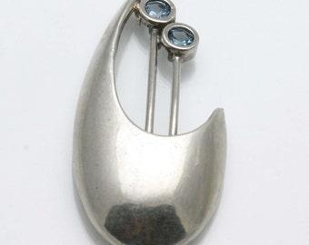 Vintage 925 Sterling Silver Blue Topaz Modernist Brooch Pin Large Estate