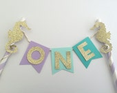 Under the Sea Cake Topper with Gold Glitter Seahorse.  Birthday Cake Decoration.  Smash Cake Photo Prop.  Party Decorations.