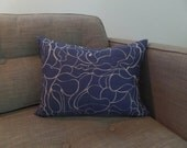 Blue and White Smoke Swirl Zippered Pillow Cover