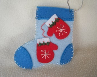 Felt Light Blue Snowflake Mittens Stocking Ornament/Gift Card Holder