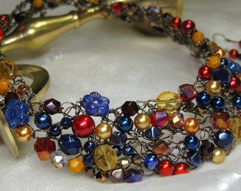 Red,Blue, and Gold Beaded Crocheted Necklace set, wire crochet necklace, beaded jewelry
