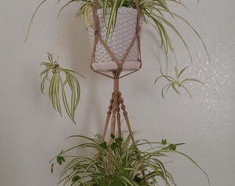2- tier Hand Crafted Macrame Plant Hanger- Tan (Available in all colors)