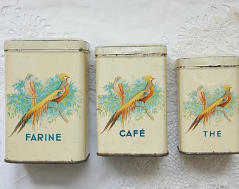 Vintage French kitchen canisters, storage tins, tin canisters, bird motifs, flower motifs, country kitchen, French kitchen, farmhouse chic