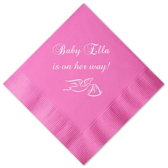 Baby Shower Stork Personalized Napkins By Pink Poppy Party