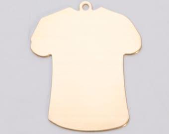 Brass Large T-Shirt 32.5mm x 27mm 24ga PKG of 6