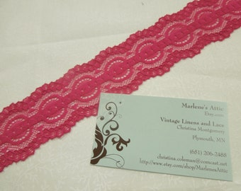 1 yard of 2 inch Pink Passion Punch Stretch elastic lace trim for bridal, headband, lingerie, garter, hair acc by MarlenesAttic - Item 5C