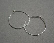 Sterling Silver Hoop Earrings: Medium Hand Hammered Hoop Earrings, Boheminan Hoop Earrings, 1.25 Inch Diameter Hoops, 3 cm Diameter Hoops