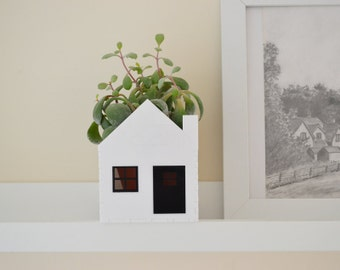 Monochrome little house planter white and black