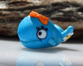 Lampwork Whale Charm Bead Nature Blue Yellow White Tiny Cute Fins Flower Character
