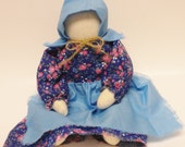 Doll in Blue Flower Print Dress, Faceless Prairie Dolls, Primitive Country Muslin Dolls