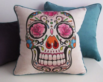 Sugar Skull dia de los muertos mexican Pillow Cover- 17x17 inches