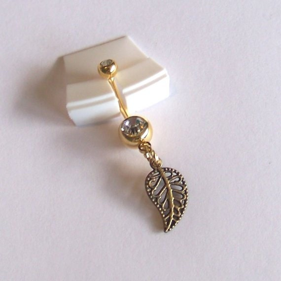 Gold Belly Button Ring - Belly Button Jewelry - Navel Piercing - Gold Leaf Belly Ring - Made to Order