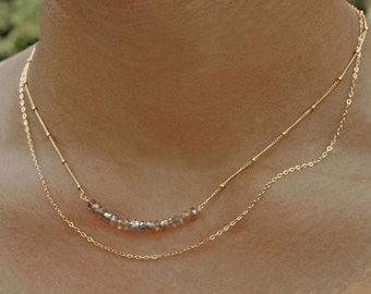 Horizontal Bar Necklace. Labradorite Necklace. Gemstone Jewelry. Multi Strand Necklace. Gold fill or sterling silver.