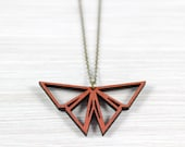 Origami Butterfly copper necklace wood