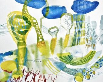original watercolor abstract art landscape 13 x 11 inch
