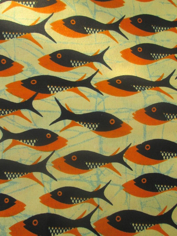 Cotton fabric african fabric fish images fabric by the yard for Fish fabric by the yard